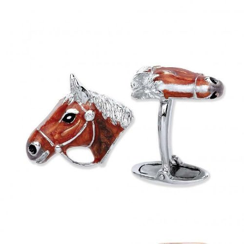 Horse Cufflinks Horses Head Solid Sterling Silver Red Enamel Finish
